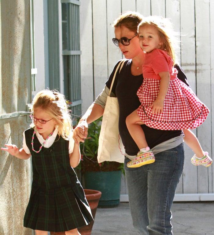 Jennifer Garner, Violet Affleck, and Seraphina Affleck on Oct. 7, 2011, in Los Angeles.