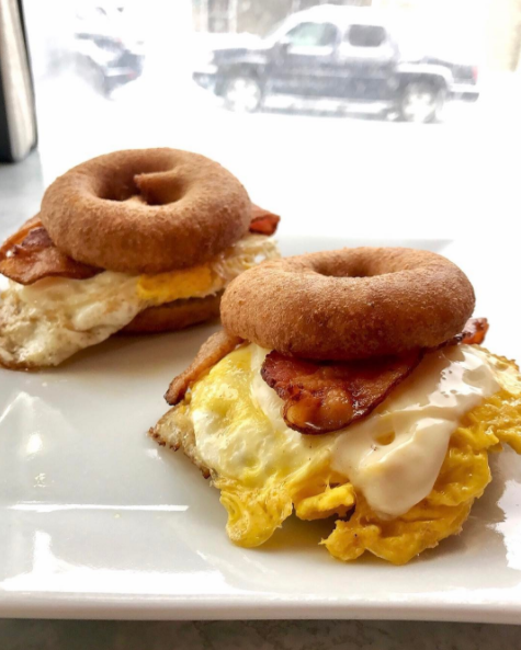 If you're ever in the Catskills, these bacon or sausage, egg, and cheese doughnut sliders (two for $4.50) are a no brainer.