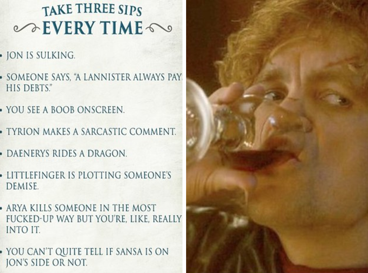 here s how to play the ultimate game of thrones drinking game