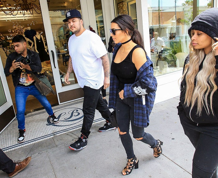 Kim and Rob Kardashian with Blac Chyna in April 2016 in Los Angeles.
