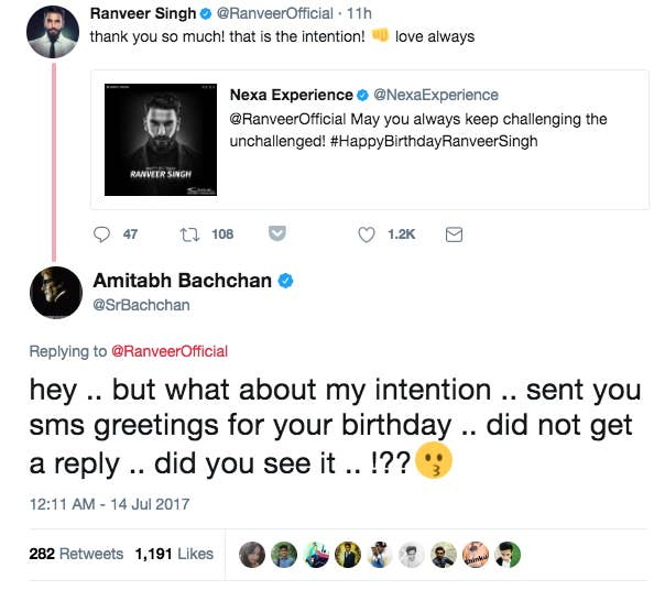 Young actors keep ignoring amitabh bachchans texts and its but last night he showed that the memo hadnt reached some of the industrys newbies as he chided ranveer singh for not responding to a birthday text he m4hsunfo
