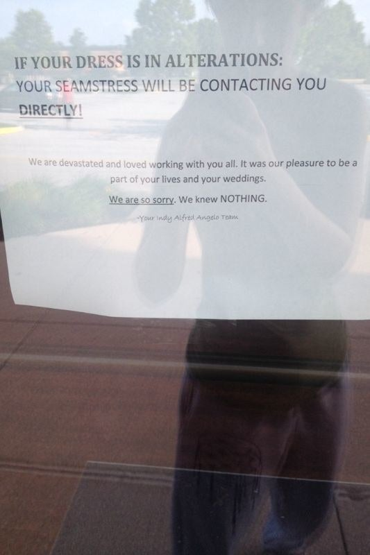 """One store in Indianapolis, shown above, posted a sign on the door informing customers they were closing their doors.""""We are so sorry,"""" the sign said. """"We knew NOTHING."""""""