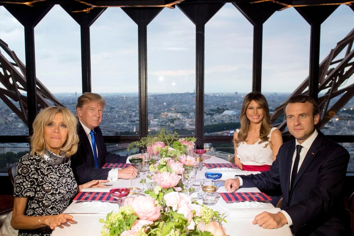 From left: French first lady Brigitte Macron, US President Donald Trump, US first lady Melania Trump, and French President Emmanuel Macron dine together at Le Jules Verne Restaurant in the Eiffel Tower in Paris on July 13. Trump arrived in Paris for Bastille Day, France's national day, on July 14 — which this year marks the 100th anniversary of US involvement in World War I.