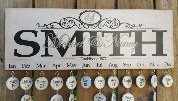 """Promising review: """"I gave this as a gift to my mother. She loved it. The quality was just what I expected and I loved that the names and birthdates came printed on the wood circles as opposed to me having to handwrite them all. :)"""" —Kerri WintleGet it from LizzyFishSigns on Etsy for $45+."""