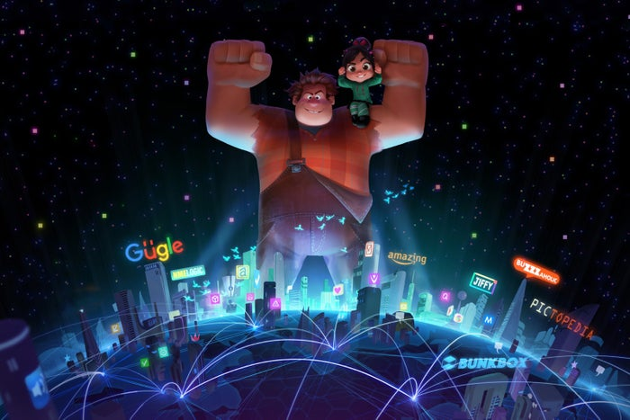 """The Wreck-It Ralph 2 presentation was the definite the highlight of the day. Filmmakers Rich Moore and Phil Johnston revealed a new teaser trailer, where we see that Litwak's Arcade has gained wifi capabilities; Ralph and Vanellope battle over how to pronounce the word """"wifi"""" (""""Wee-fee?""""). As they peek into the web, they get stuck, and shoot down the ethernet into the World Wide Web. Within, avatars, which look kind of like the Funko toy version of people, are mulling around. Ralph keeps getting stopped by avatars trying to hook him in with spammy offers like """"See what this child star looks like now,"""" or """"Here's how you can make $5000 a week from home.""""The basic plot of the sequel is that the game in which Vanellope resides is broken and she has to travel with Ralph through the internet to find the piece to fix it. Yesss, a new character voiced by Taraji P. Henson, is an algorithm for a trend-making site Buzzaholic (👀) who knows everything about the internet and guides Vanellope and Ralph on their journey. The character looks like a cartoon fashionista with an undercut and fur like coat, though the filmmakers noted that Yesss is made of fiber optics and can constantly shift her clothes and hair."""