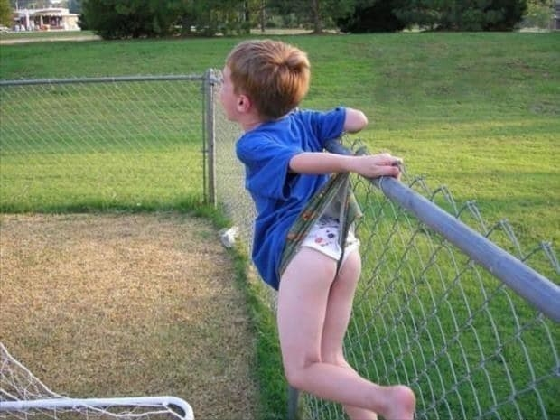 This kid, who'll probably never trust a fence again: