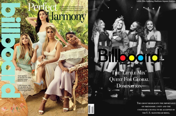 """Alas, we cannot forget about U.S group Fifth Harmony whose multi-platinum hits in 'Worth It' and 'Work From Home' helped label them American's next biggest girl group. Although their cracked faults as a group were slowly and continually being scrutinized by the media, they remained in tact as a group especially with powerful empowerment songs like """"That's My Girl"""". They may have lost a member in Camila Cabello who eventually left to go on her rising solo journey thus leaving the group as a four-piece, but there was no holding back. Then comes Little Mix, a U.K. girl group whose coming together in late 2011 proved importance to the rise of later girl groups. Their hit 'Wings' and Billboard breaking debut album DNA, shoved them immediately into the spotlight. Critics often compare their close harmonies to past groups like The Andrews Sisters and even Destiny's Child. Followed by a lackluster promotional wheel in follow-up album and era 'Salute' - things began faltering for the group in terms of chart success and no visible Platinum hit. After a long year period of reconstructing a new sound and road, they released 'Black Magic' a staple dance-pop hit that renewed the girl groups interest to the world, most notably the U.K, Australia and even the United States. From there, domination began - and their 30+ million selling figures steadily support that."""