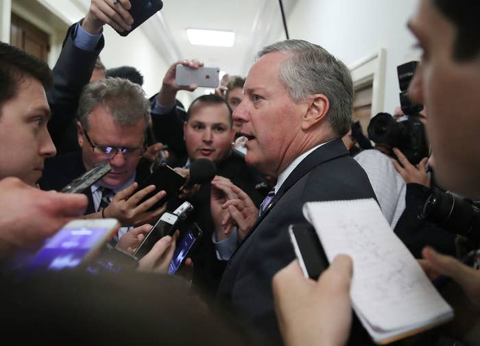 House Freedom Caucus Mark Meadows (R-NC) speaks to reporters after coming out of a closed-door meeting with other members.