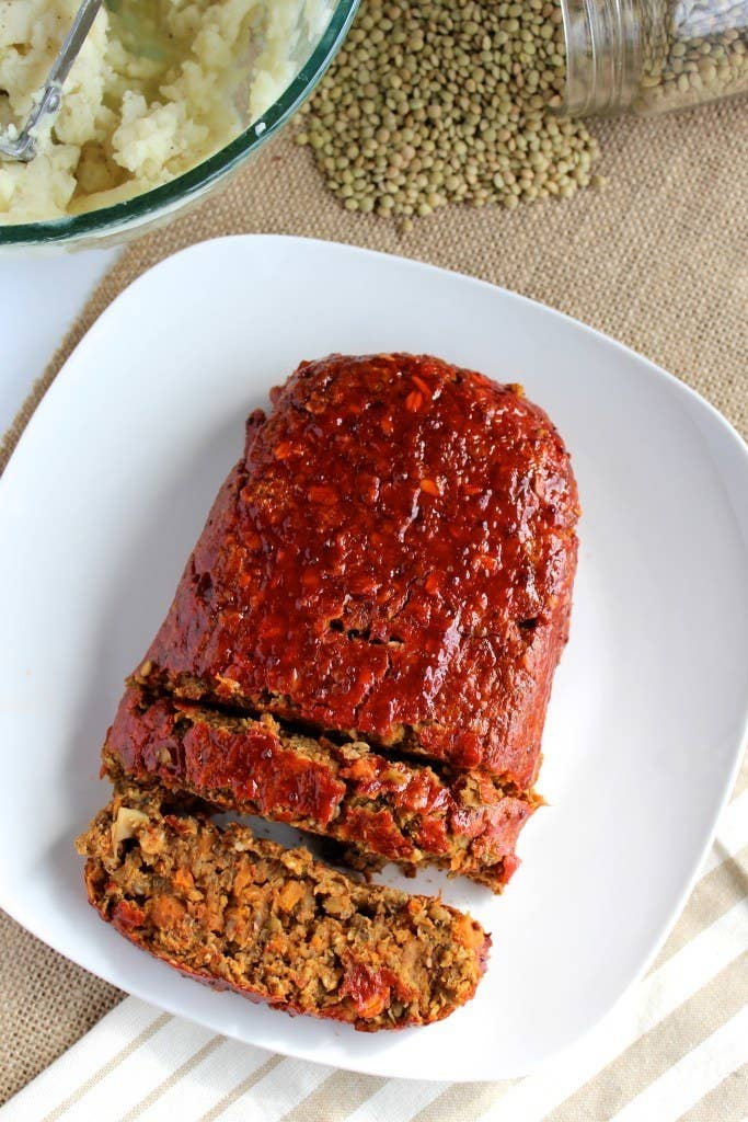 This lentil loaf is glazed with a savory-sweet mixture of ketchup, dijon mustard, apple cider vinegar, and coconut sugar. Get the recipe.