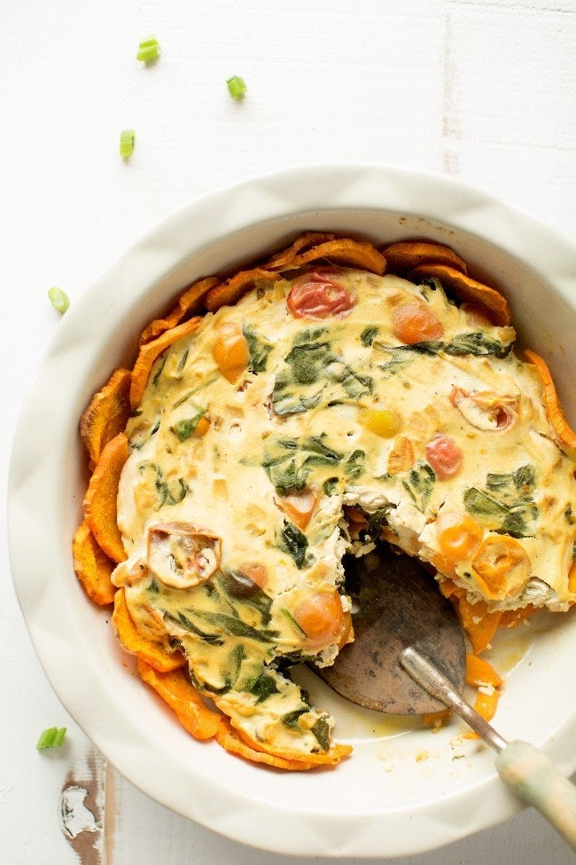 This fluffy, eggless quiche is made with one very secret ingredient: Tofu. Get the recipe.
