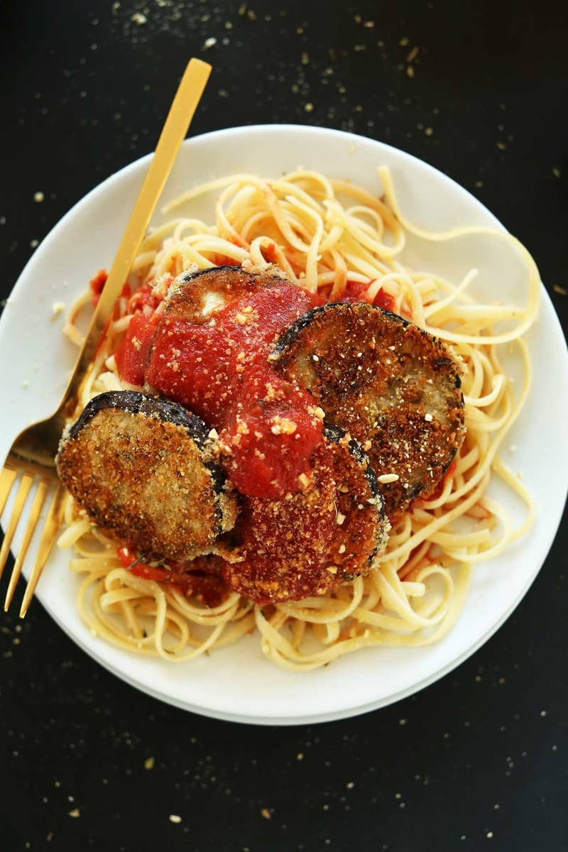 This crispy baked eggplant tastes amazing over a bowl of al dente spaghetti. Don't forget the vegan Parmesan. Get the recipe.