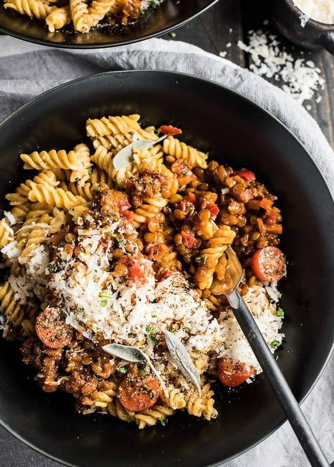 This recipe calls for chickpea pasta, but you can use whatever boxed noodles you like best. Get the recipe.