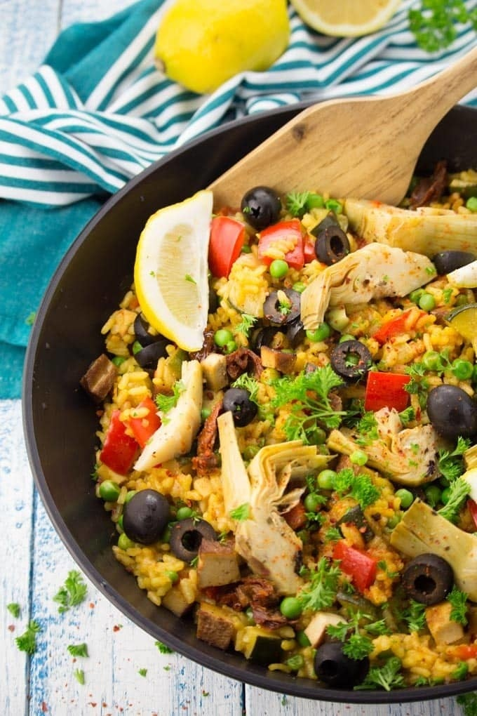Ditch the shellfish, chicken, and chorizo you'd usually find in this Spanish rice dish. Zucchini, artichoke hearts, tofu, and red bell pepper taste equally as delicious. Get the recipe.