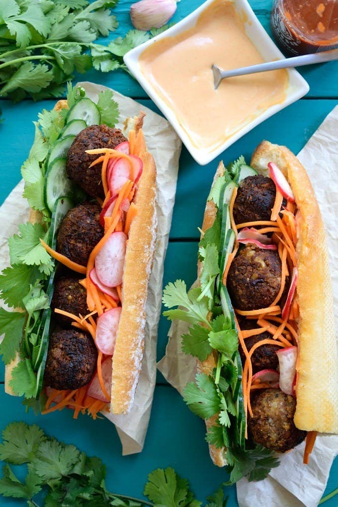 Giving up meat and dairy doesn't have to be boring or flavorless. Case in point: These Vietnamese sandwiches, loaded with perfectly fried lentil and mushroom meatballs, pickled veggies, and Sriracha mayo. Get the recipe.