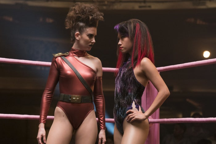 """""""The original [GLOW] show was very homemade,"""" makeup artist Lana Grossman (who also worked on Mad Men) told BuzzFeed. """"We were trying to stay true to that."""" It also had to look like something a bunch of out-of-work actresses could feasibly afford and do themselves. """"Our instinct [as makeup artists] is, We're here to make this perfect,"""" Grossman said. But they had to get comfortable leaving the makeup a little uneven, not perfectly blended, etc."""