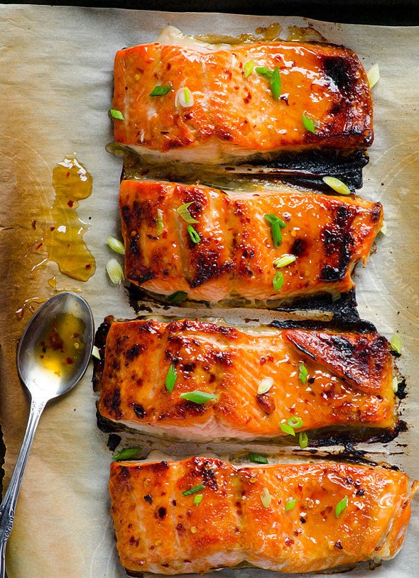 Thai sweet chili sauce gives these salmon fillets their sweet and spicy flavor. Try them over rice or greens for the perfect weeknight meal. Get the recipe here.