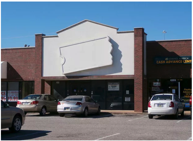 A Blockbuster store with logo and all signage removed