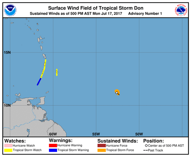 The storm was located about 485 miles southeast of Barbados with sustained winds of around 40 mph. The storm was expected to approach the Windward Islands, prompting watches and warnings.