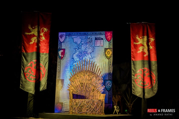 Yes, that is an actual Iron Throne they got made exclusively for the event that was held in Udaipur.