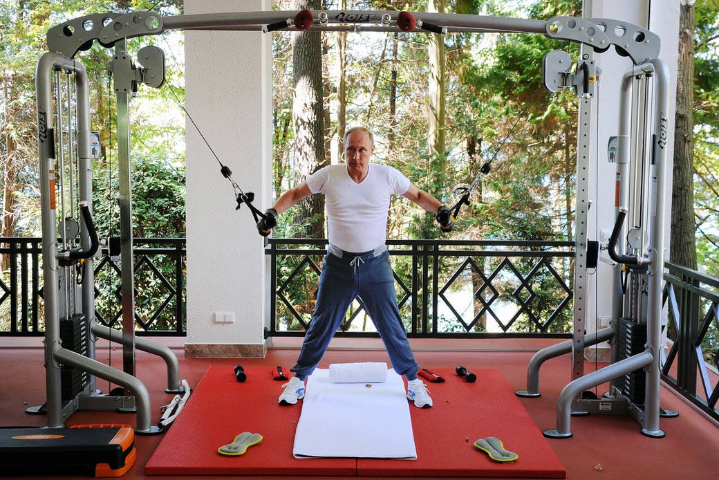 Putin works out at the Bocharov Ruchei state residence in Sochi on Aug. 30, 2015.