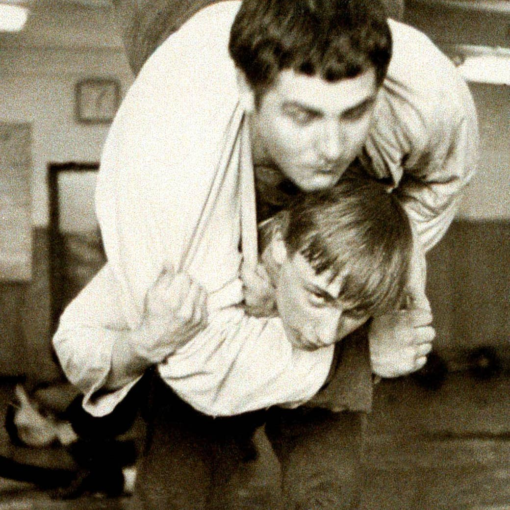 Putin wrestles with a classmate at the St. Petersburg Sportschool in 1971.