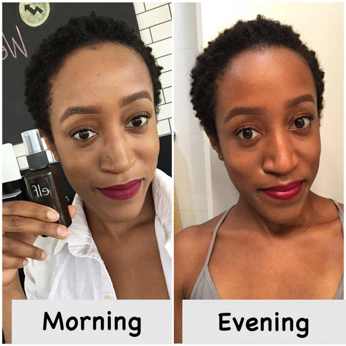 A morning and evening comparison of a person's face after using the setting spray