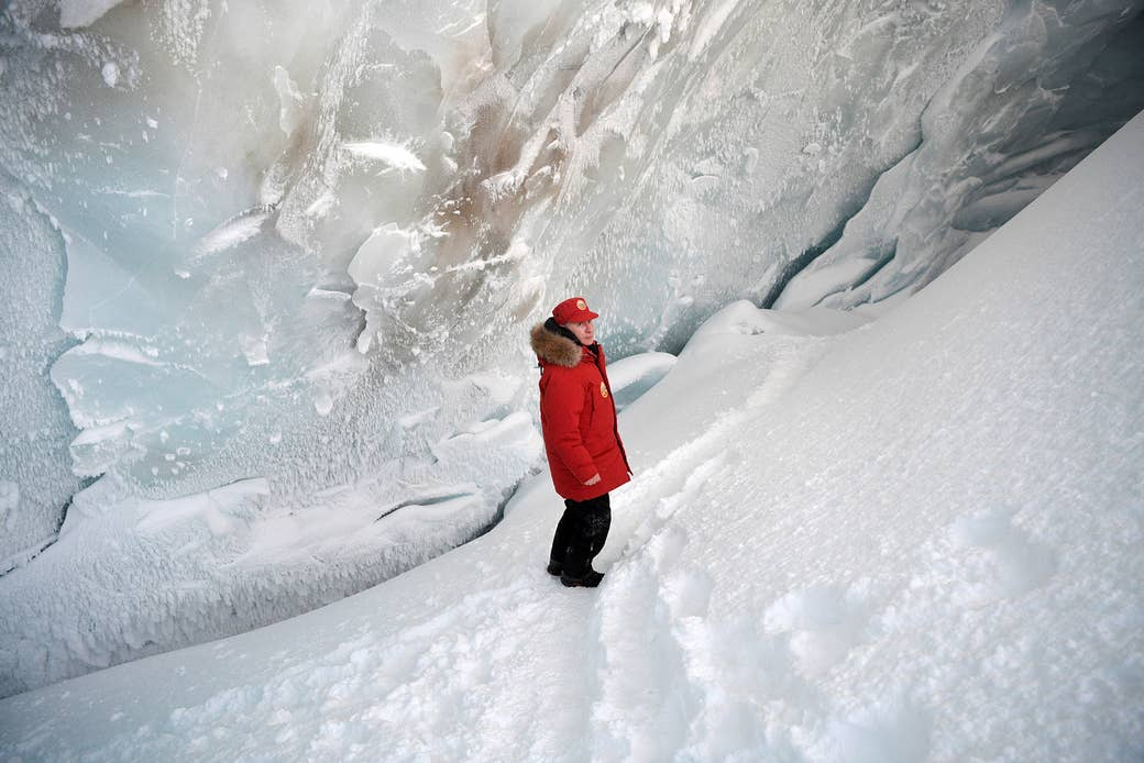 Putin visits the cave of Arctic Pilots Glacier on the remote Franz Josef Land archipelago in Russia on March 29, 2017.