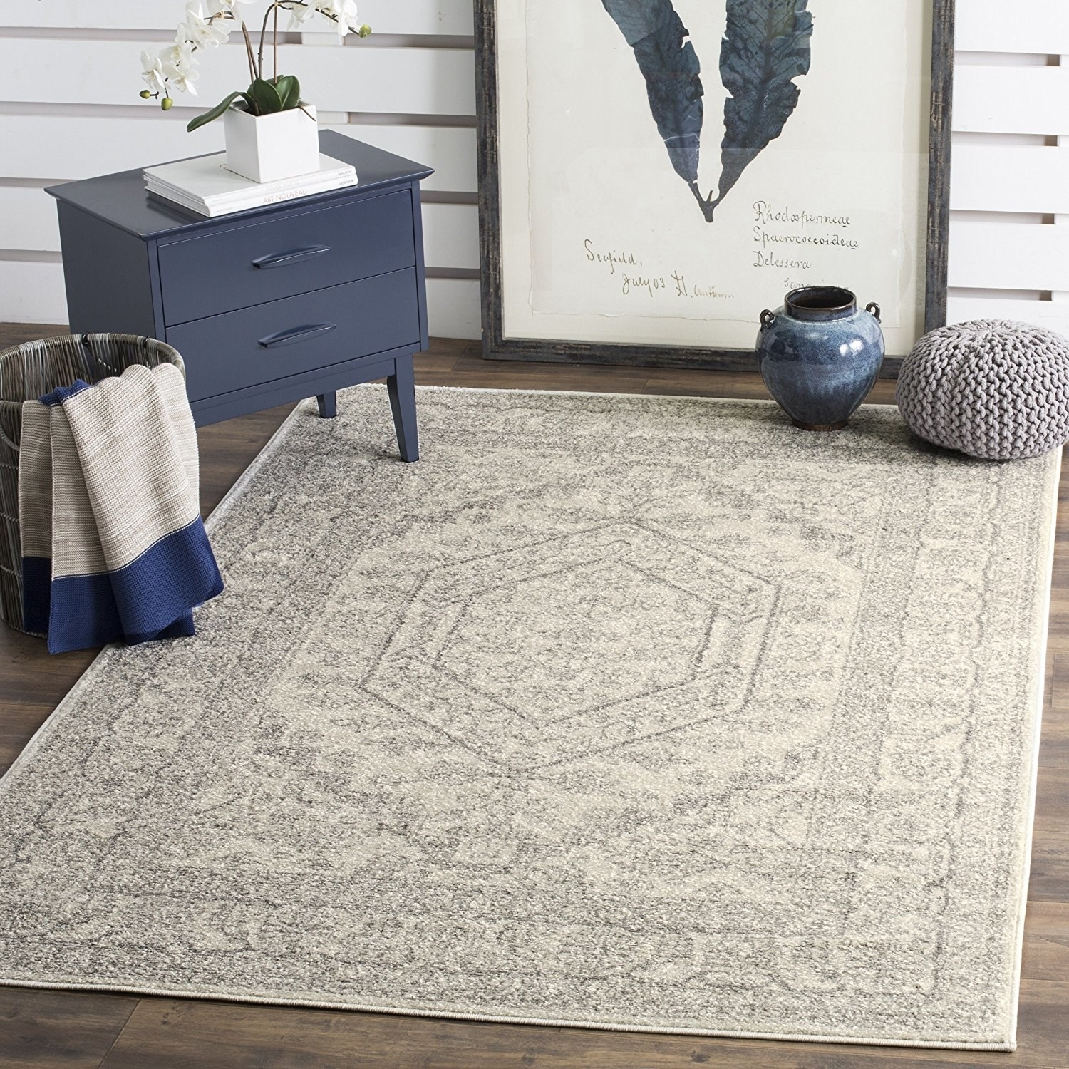 this elegant silver and rug that will tie all your decor together - Rugs