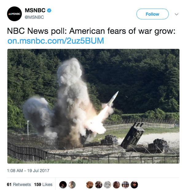 MSNBC published a tweet on Tuesday linking to an article about the growing number of Americans (76%) who are worried the US will be involved in some sort of major war in the next four years.