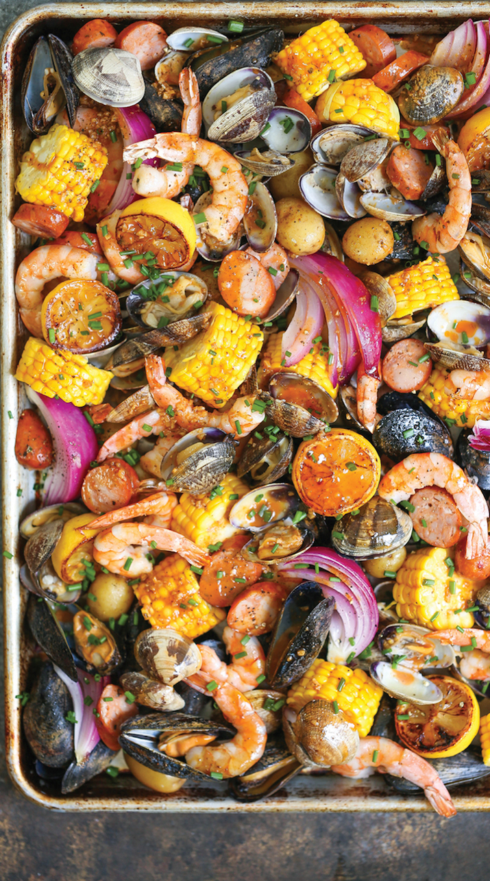 Just as good as a shrimp and clam boil but makes way less of a mess.Get the recipe here.