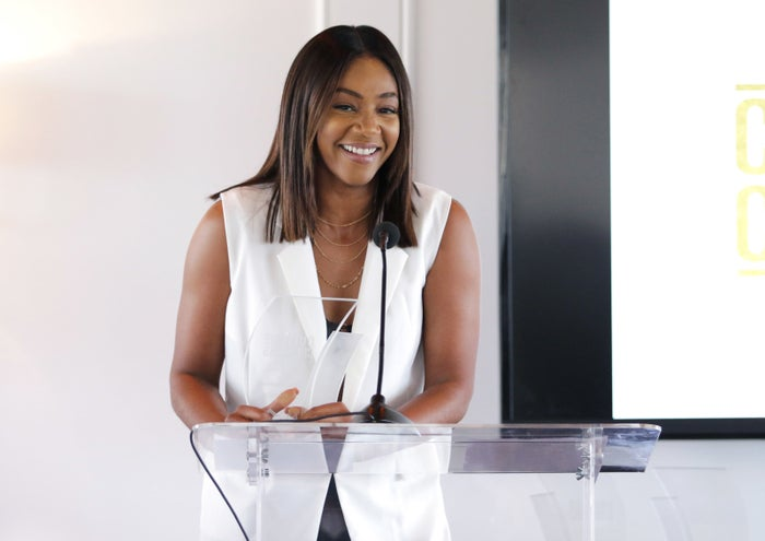 Haddish speaking at Culture Creators 2nd Annual Awards Brunch in June 2017.