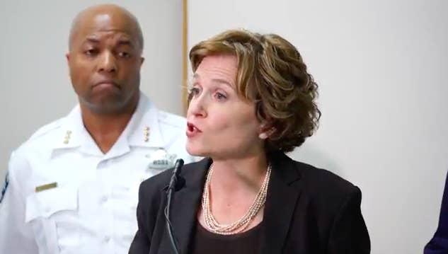 Minneapolis Mayor Betsy Hodges and Assistant Police Chief Medaria Arradondo.