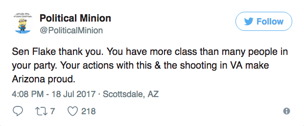 And said Flake made them proud.