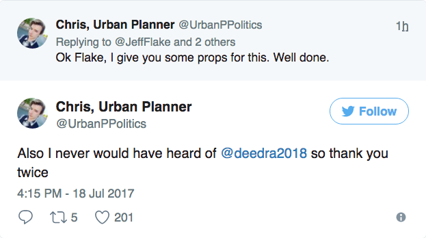 Others noted that Flake, by tweeting about his opponent, introduced the little-known candidate to people for the first time.