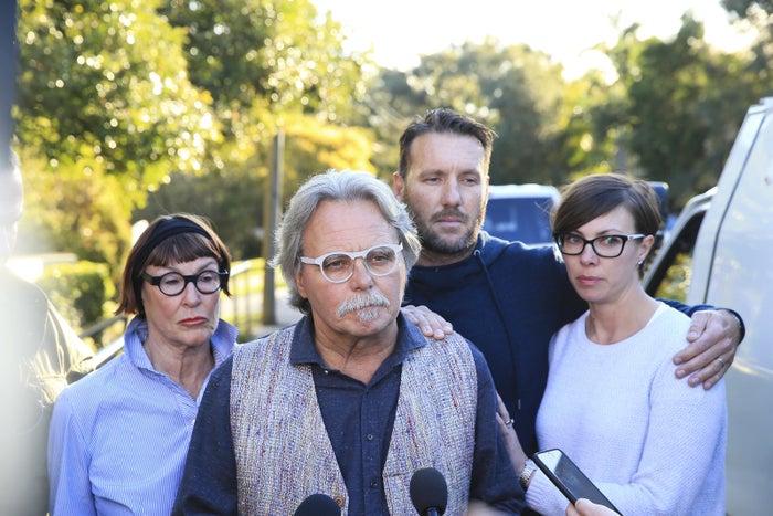 Damond's family addresses the media outside their house in Sydney.