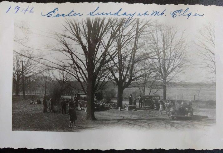 Easter picnic, 1946, at Mount Elgin school.