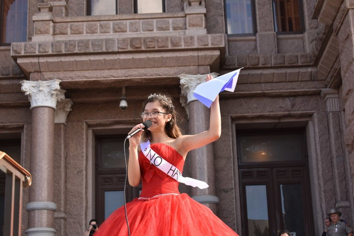 They chose the cultural symbol of the quinceañera because it's the time in a girl's life when she traditionally becomes a woman and starts taking responsibility for her community.