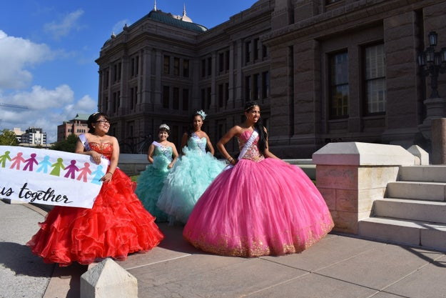 A group of 15 teenage girls dressed in quinceañera dresses protested outside the Texas capitol building on Wednesday to show their frustration at a new state bill they say is anti-Latino.
