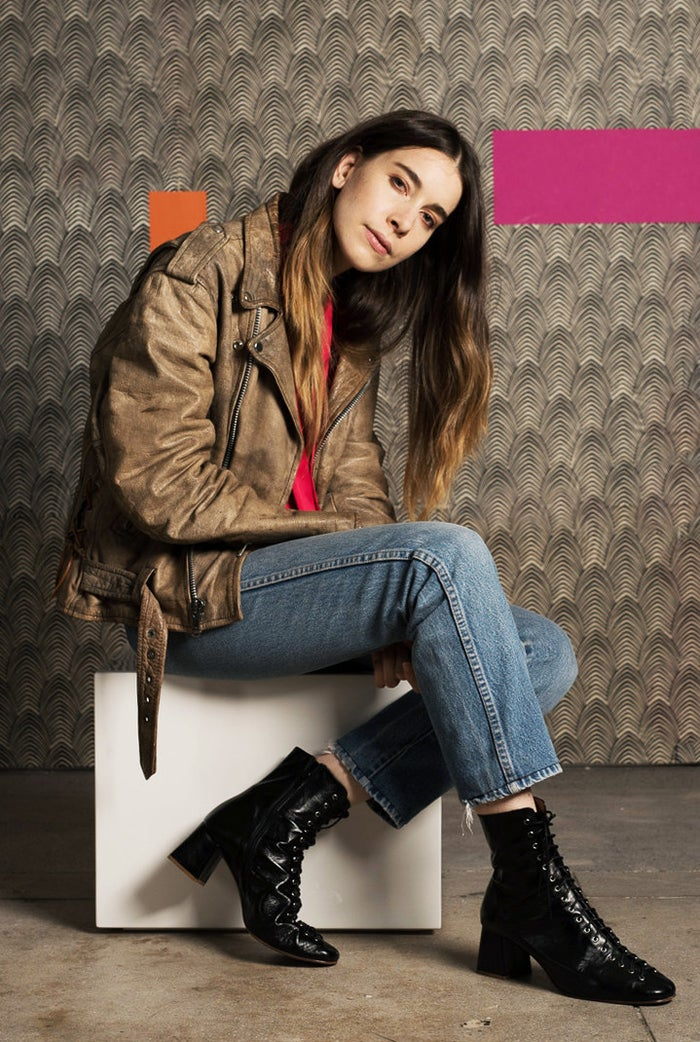 Haim was photographed in New York on June 27, 2017. City Slicker Table provided by CB2.