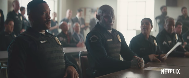"Edgerton plays one of the first orcs to get to join the police force. ""It felt really great to be an African-American police officer that just found somebody else to be racist against,"" Smith jokingly said."