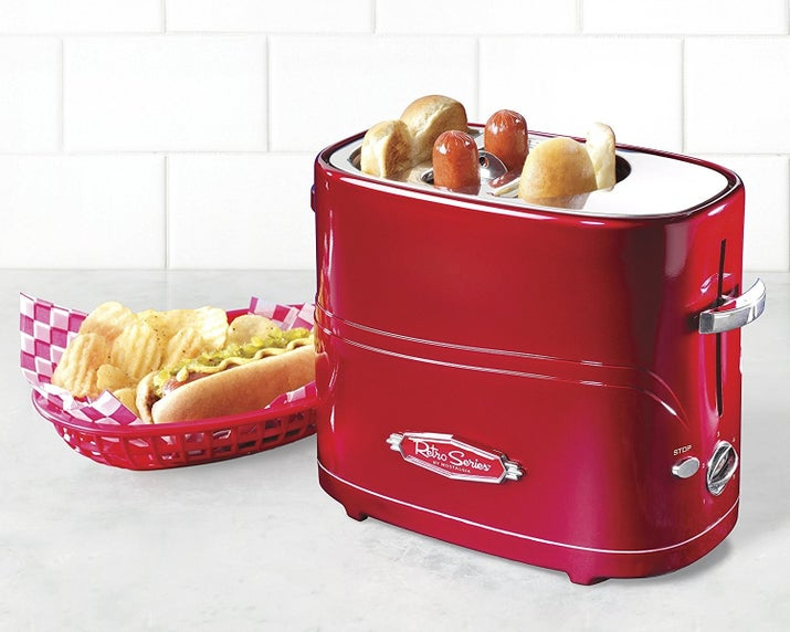 "Get it from Amazon for $19.50.Promising review: ""I purchased this for work. I have one at home and love it. If you're gonna eat a hot dog, this is the way to do it. Tastes so much better than warming it up in the microwave. I cook the dogs only on the first cycle and then the dogs and buns on the second. That way, the dogs are roasted nicely and the buns aren't burnt. And the kids love it too!"" —Susan L. Miller"