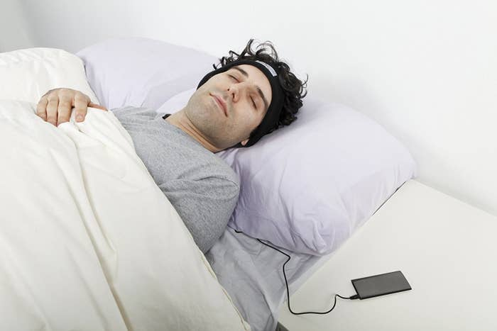 """""""Just got SleepPhones, which are headphones within a soft fuzzy headband for listening to music/podcasts while you fall asleep. I am literally incapable of falling asleep without a podcast, while my fiancé needs either light music or silence. These are so much more comfortable to wear than earbuds, she can't hear my podcasts at ALL, and the sound quality is amazing. It's only been two nights but I love them and have no idea how I lived without them, hahah!"""" —Kathleen M., FacebookGet them from Amazon for $39.95."""