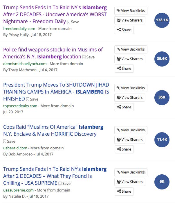 A sampling of false online stories claiming that Islamberg had been raided by the government, which were shared widely on Facebook.