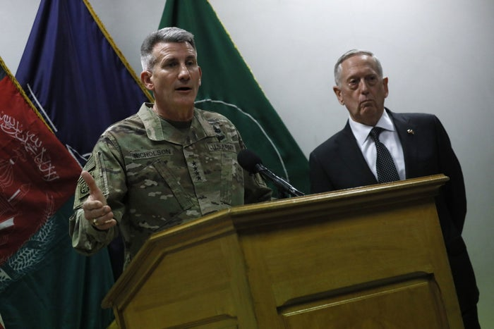 Defense Secretary Jim Mattis and Army Gen. John Nicholson, commander of US forces in Afghanistan, held a news conference in Kabul in April. The appearance came during Mattis's first visit to Afghanistan as Pentagon chief.