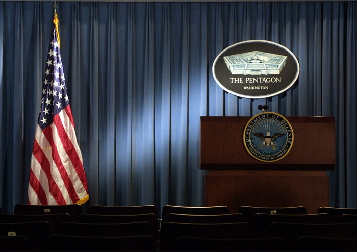 The Pentagon logo behind the wooden podium in the Pentagon's briefing room used to be seen regularly during briefings by top Defense Department officials. But not under the Trump administration.