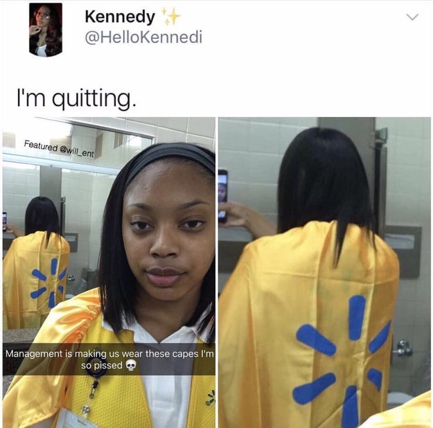 "Kennedy said she's a pretty active social media user, so she jokingly tweeted out the photo saying, ""I'm quitting."" People couldn't handle the amazing new Walmart attire."