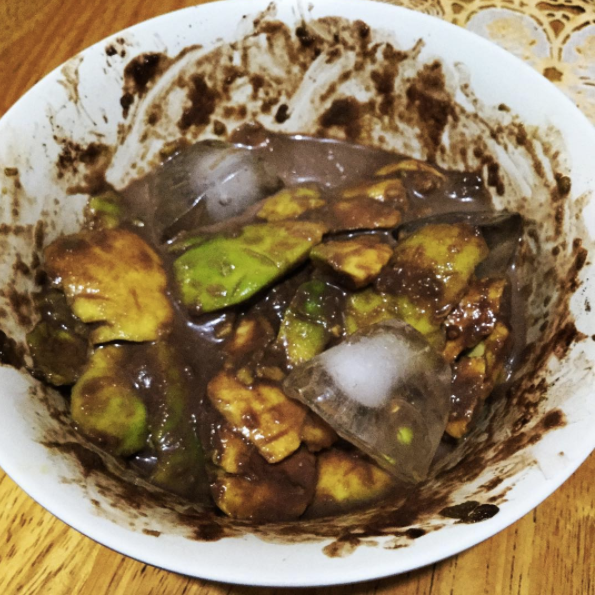 This avocado, chili powder and ice cube bowl which has some serious 'splaining to do.
