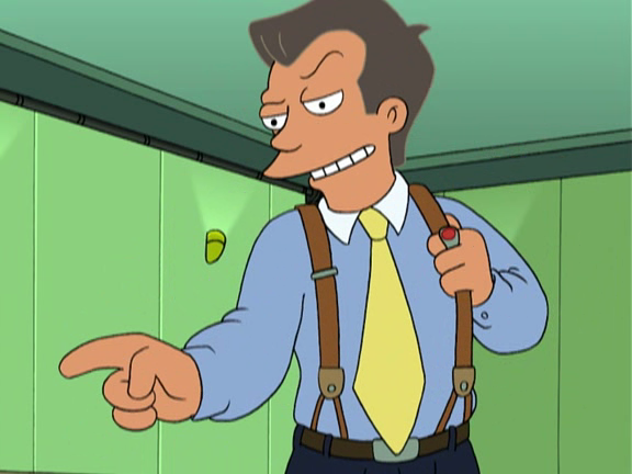 "This is ""That Guy"" from Futurama. He appeared in the Season 4 episode ""Future Stock"" after cryogenically freezing himself in the 1980s and waking up in the year 3002."