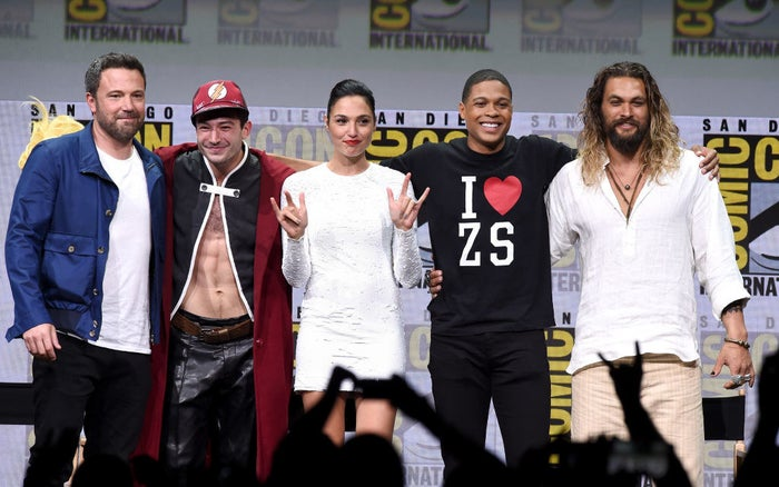 Affleck, Miller, Gadot, Fisher, and Momoa from Justice League during the Warner Bros. panel at Comic-Con International 2017 at San Diego Convention Center on July 22, 2017 in San Diego, California.