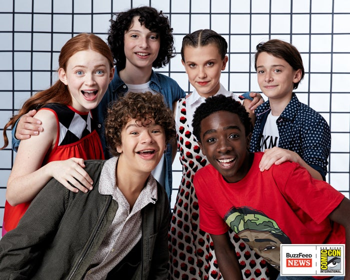 Sadie Sink, Finn Wolfhard, Gaten Matarazzo, Millie Bobby Brown, Caleb McLaughlin, and Noah Schnapp.